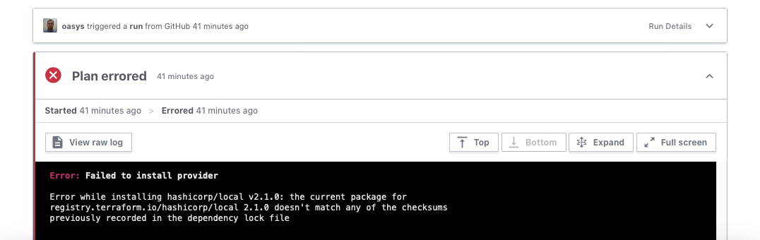 Terraform lock file error
